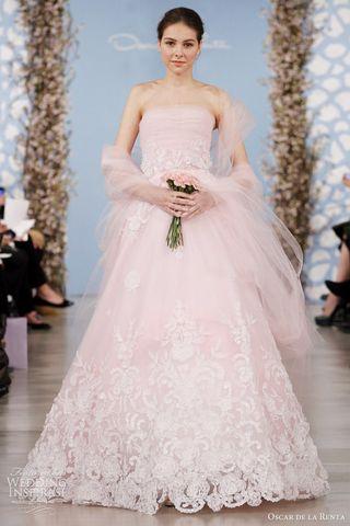 Oscar-de-la-renta-2014-bridal-pink-tulle-gown-ivory-flowers-pink-wrap